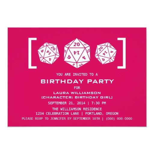 """La fiesta de cumpleaños rosada del videojugador de invitación 5"""" x 7"""""""