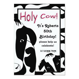 """La fiesta de cumpleaños santa divertida de la vaca invitación 5"""" x 7"""""""
