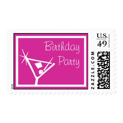 La fiesta de cumpleaños sella el vidrio de Martini Estampillas