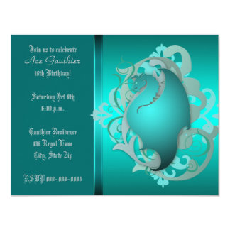 La fiesta de cumpleaños urbana del dragón de la invitación 10,8 x 13,9 cm