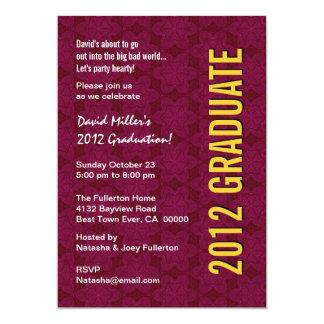 """La fiesta de graduación 2012 Borgoña protagoniza Invitación 5"""" X 7"""""""