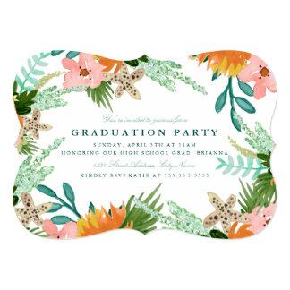"""La fiesta de graduación de la costa costa invita invitación 5"""" x 7"""""""