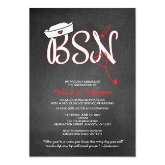 """La fiesta de graduación de la enfermera de BSN que Invitación 5"""" X 7"""""""