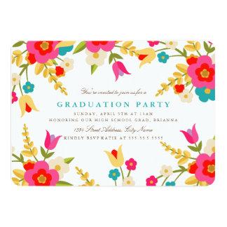 La fiesta de graduación de las flores del país invitación 12,7 x 17,8 cm