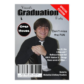 """La fiesta de graduación de moda de la portada de invitación 5"""" x 7"""""""