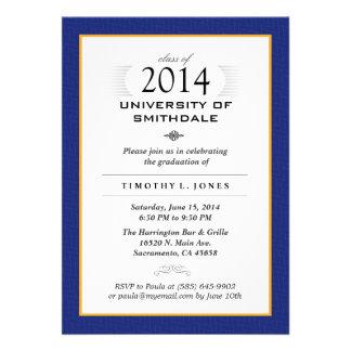 La fiesta de graduación formal del azul y del oro invitaciones personalizada