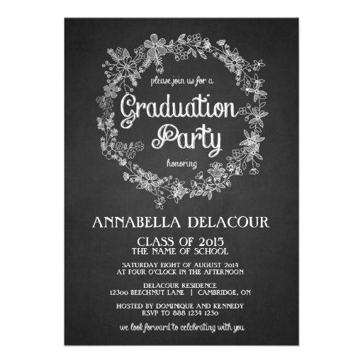 La fiesta de graduación invita a la pizarra floral anuncios