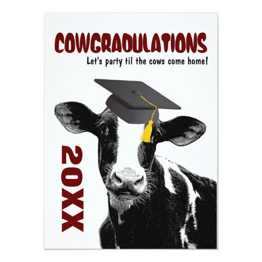 """La fiesta de graduación invita - a la vaca invitación 5.5"""" x 7.5"""""""