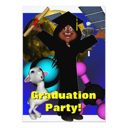 """La fiesta de graduación invita invitación 5"""" x 7"""""""