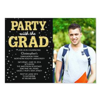 """La fiesta de graduación moderna de la foto del invitación 5"""" x 7"""""""
