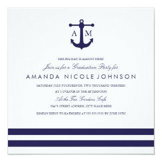 La fiesta de graduación náutica de la marina de invitación 13,3 cm x 13,3cm