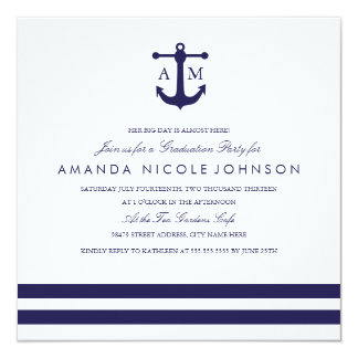 """La fiesta de graduación náutica de la marina de invitación 5.25"""" x 5.25"""""""