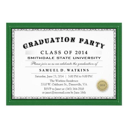 La fiesta de graduación verde 2014 del diploma de  comunicado personalizado