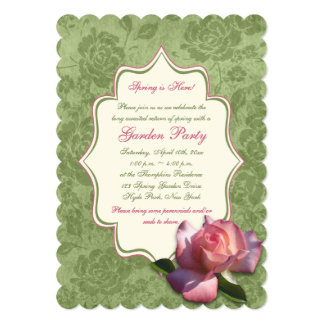 """La fiesta de jardín color de rosa de marfil rosada invitación 5"""" x 7"""""""