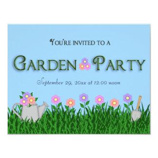 """La fiesta de jardín de moda y elegante invita invitación 4.25"""" x 5.5"""""""