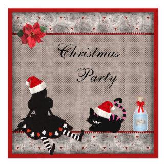 La fiesta de Navidad de Alicia y del gato de Chesh Invitación Personalizada
