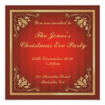 La fiesta de Navidad de lino de lujo invita Invitación 13,3 Cm X 13,3cm