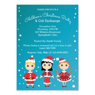 La fiesta de Navidad de los niños y regalo del Invitación 11,4 X 15,8 Cm