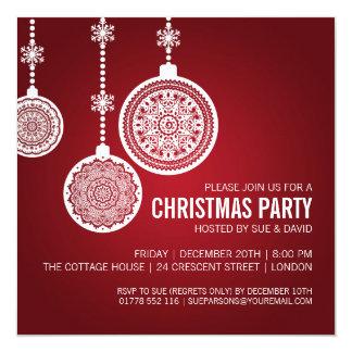 La fiesta de Navidad elegante adorna rojo Invitación 13,3 Cm X 13,3cm