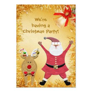 La fiesta de Navidad linda de Santa invita Invitación 12,7 X 17,8 Cm