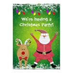 La fiesta de Navidad linda de Santa y de Rudolph Invitación Personalizada