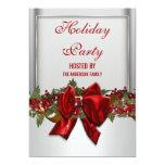 La fiesta de Navidad roja de plata PERSONALIZA Invitación