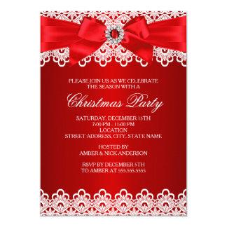 """La fiesta de Navidad roja del arco de la joya del Invitación 5"""" X 7"""""""