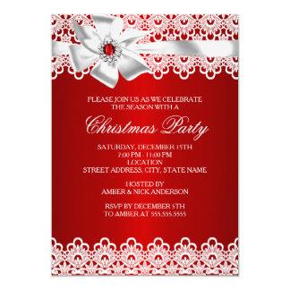 """La fiesta de Navidad roja y blanca del arco de la Invitación 5"""" X 7"""""""