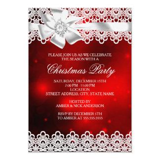 """La fiesta de Navidad roja y blanca del arco del Invitación 5"""" X 7"""""""