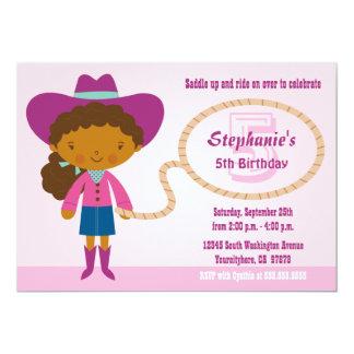 """La fiesta del cumpleaños de la vaquera del chica invitación 5"""" x 7"""""""