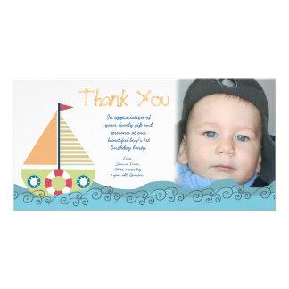 La fiesta del cumpleaños del muchacho del barco de tarjetas fotograficas