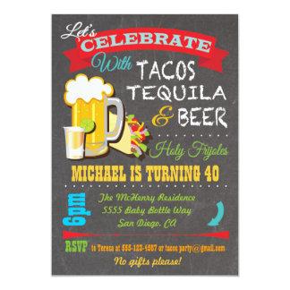 """La fiesta del Tacos, del Tequila y de la cerveza Invitación 5"""" X 7"""""""