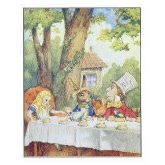 La fiesta del té 2 del sombrerero enojado impresión en madera