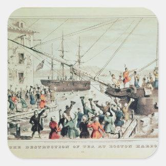 La fiesta del té de Boston, 1846 Calcomanía Cuadradas Personalizada
