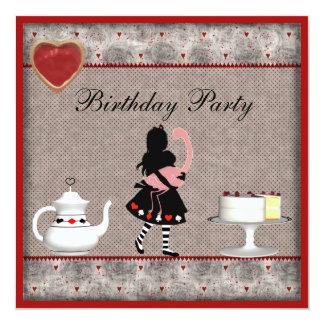 La fiesta del té del cumpleaños del flamenco de invitación 13,3 cm x 13,3cm