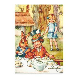 La fiesta del té del sombrerero enojado - Alicia e Impresión En Lona Estirada