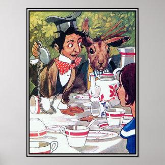 La fiesta del té del sombrerero enojado - Alicia e Póster