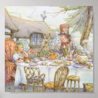La fiesta del té del sombrerero enojado colorido impresiones