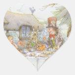 La fiesta del té del sombrerero enojado colorido calcomanías corazones personalizadas