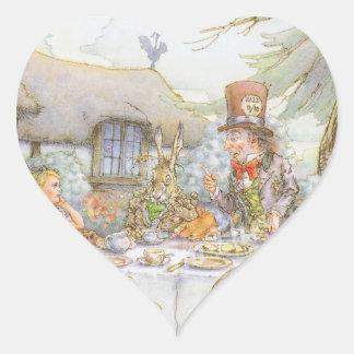La fiesta del té del sombrerero enojado colorido pegatina en forma de corazón