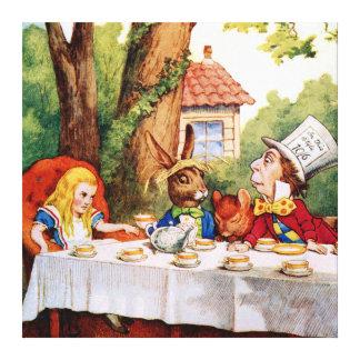 La fiesta del té del sombrerero enojado en Alicia  Lona Estirada Galerias