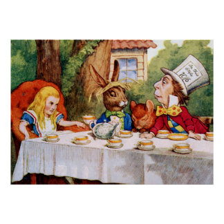 La fiesta del té del sombrerero enojado en el país póster