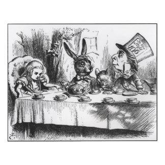 La fiesta del té del sombrerero enojado impresión en madera