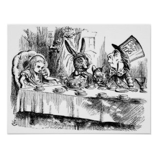 La fiesta del té del sombrerero enojado poster
