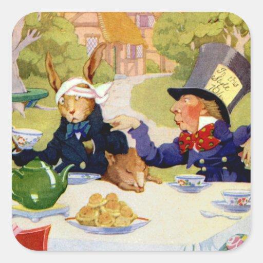 La fiesta del té del sombrerero enojado calcomanía cuadradase