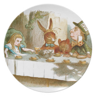 La fiesta del té del sombrerero enojado plato para fiesta