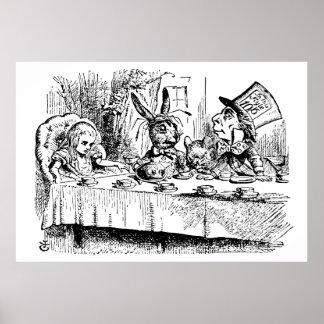 La fiesta del té del sombrerero enojado póster