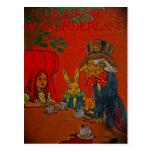 La fiesta del té del sombrerero enojado tarjeta postal