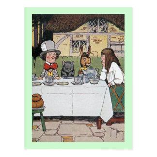 La fiesta del té del sombrerero enojado postal