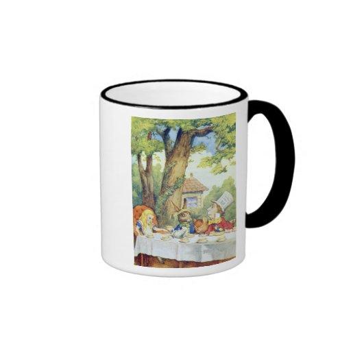 La fiesta del té del sombrerero enojado taza a dos colores